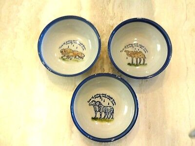 """3 Louisville Stoneware Noah's Ark """"2 and 2"""" Cereal Bowls - Camels,Lions,Zebras"""