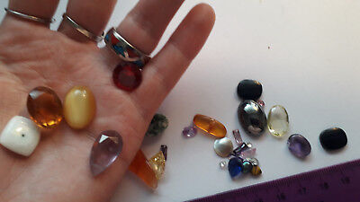 Mixed loose natural, faux and lab-made gemstones & beads - clearance price