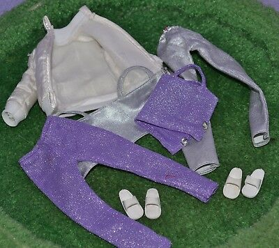 "Pedigree Sindy Doll Clothes 1985 Quick Change Set Shoes Purple Silver 11"" 1970's"