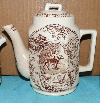 ALLERTON~Little Mae & Dog~Childs TEAPOT~Brown Transferware~STAFFORDSHIRE~1890s