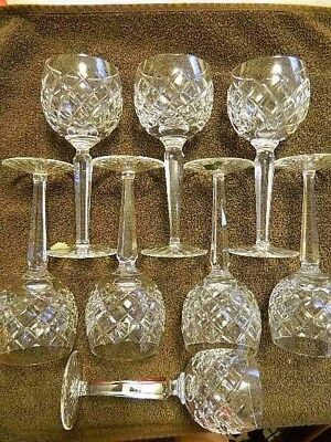 "set of 8 Waterford Comeragh cut crystal 7 1/4"" wine hock balloon style glasses"
