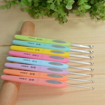 8 Pcs/Set Soft Grip Handle Aluminum Crochet Hooks Knitting Sweater Needles Tool