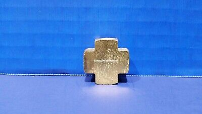 """Solid Brass Manifold Pipe Cross Four Way 1/8"""" Inch Female NPT Air Fuel Water"""