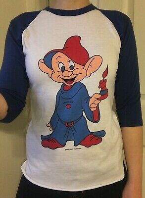 vintage DOPEY 7 DWARFS SNOW WHITE WALT DISNEY Baseball T Adult Small blue/white