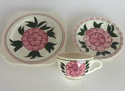 3 Pc.set Blue Ridge Pottery Cup Saucer &small Plate Big Pink Flower Pattern Vtg.