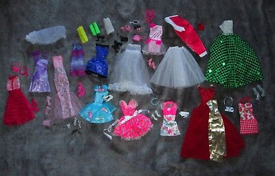 Barbie Doll Clothes Lot Over 45 Pieces ! HUGE ! Beautiful Dresses & Shoes & More
