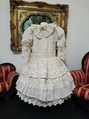 """Vintage French victorian dress 18"""" for antique bisque German doll 24-28"""""""