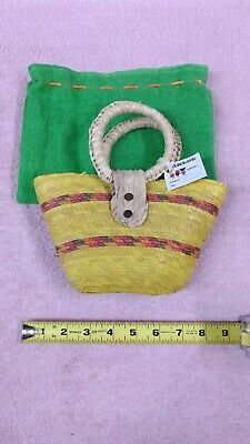 Small Woven Bag - Product of Mexico - New - Yellow with Multi-Color Banding - VG
