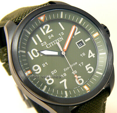 detailed look 9a72c cc6f1 CITIZEN MEN ECO DRIVE AVIATOR MILITARY GREEN CANVAS BAND DATE 100m  AW5005-21Y