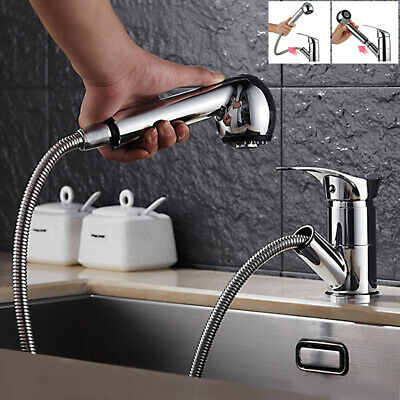 Pull Out Mono Kitchen Mixer Sink Taps Handheld Spray Single Lever Chrome Faucet