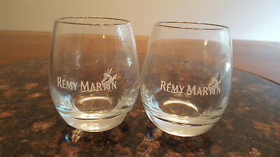 (2) Remy Martin Fine Champagne Cognac Snifter Glasses with Etched Skier