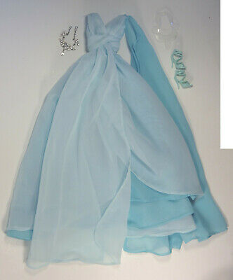 Silkstone Barbie Blue Chiffon Ball Gown Full Outfit Dress Shoes Necklace Clothes