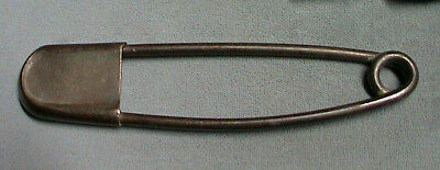 """Vintage Large Brass 5"""" Laundry Safety Pin TAG Arts and Crafts Patent 1991827"""