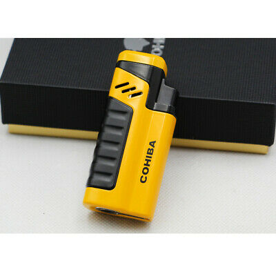 Cohiba Yellow Cigar Cigarette Metal Lighter 4 Torch Jet Flame With Punch