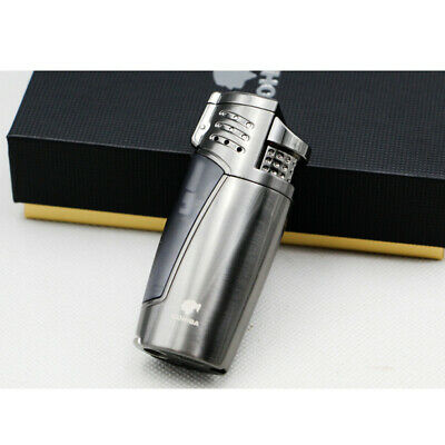 Cohiba Metal Gray Cigar Cigarette Lighter 3 Torch Jet Flame With Punch