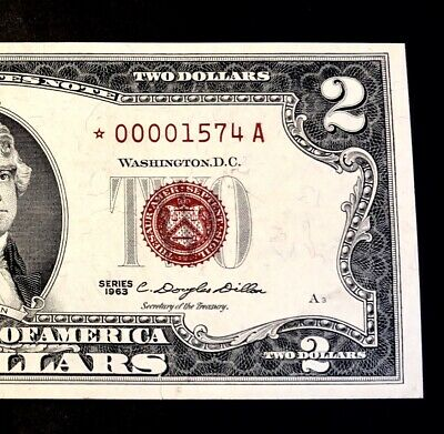 1963 $2 RED Seal *STAR* Low Serial~UNITED STATES NOTE~ Crisp XF/AU
