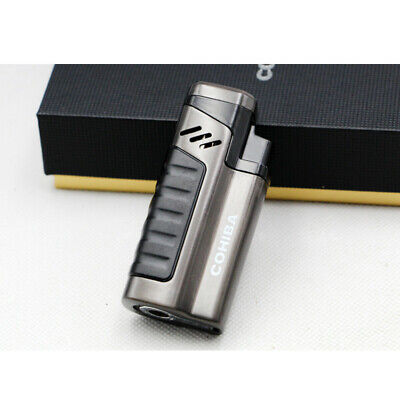 Cohiba Black Cigar Cigarette Metal Lighter 4 Torch Jet Flame With Punch