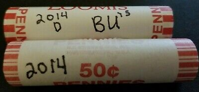 2014 P&D Lincoln Shield Penny Rolls Original Bank Wrapped from Sealed Bank Box