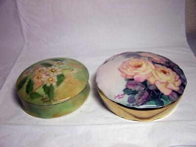 TWO Hand Painted Dresser Powder Boxes - Limoges