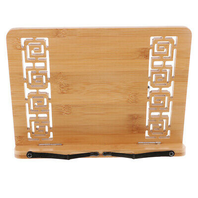 Cookbook Stand Hollow Bamboo Adjustable Book Holder Reading Rest Book Stand
