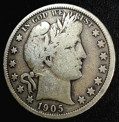 1905-P Barber Half Dollar US Silver 50 cent US  Coin Better Date Lower Mintage