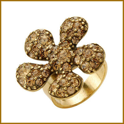PILGRIM Danish Design Topaz Swarovski Crystal Pave Gold Flower Adjustable Ring