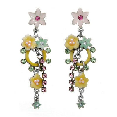 PILGRIM Danish Design Enchanted Flower Garden Swarovski Crystal Enamel Earrings