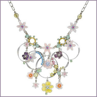 PILGRIM Danish Design Enchanted Flower Garden Swarovski Crystal Enamel Necklace