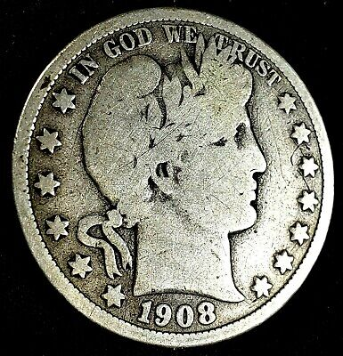 1908-P Barber Half Dollar US Silver 50 cent US  Coin