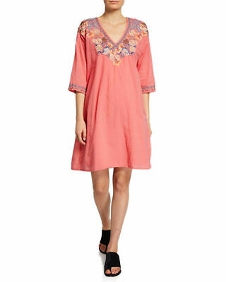 d58861f6b4 Johnny Was Kalea dusty coral with slip cotton vneck dress S or L or XL