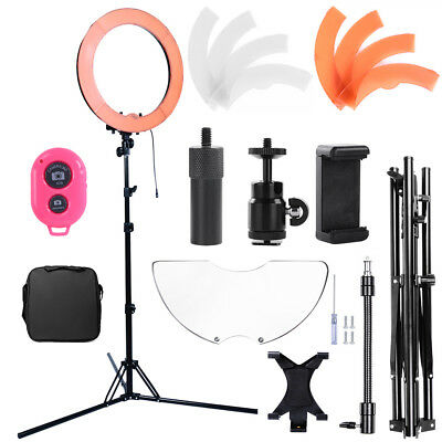 """19"""" 75W Dimmable Video Photo Continuous Ring Light Kit Stand w/Mirror&Bluetooth"""
