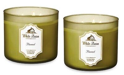 QTY 2X Bath and Body Works 3 Wick 14.5 Ounce Scented Candle in Flannel