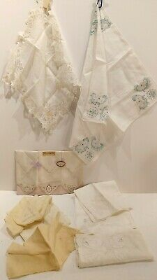 Antique Embroidered Lace Hankerchief Collection of 12