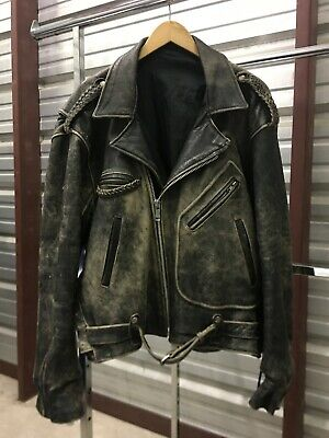 MENS XL - Vtg Distressed Motorcycle Biker Rocker Black Leather Jacket