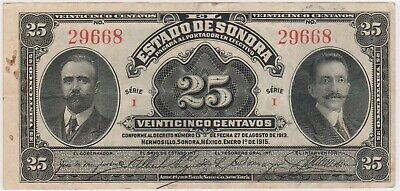(N22-63) 1915 Mexico 25 centavos bank note bank note (BM)