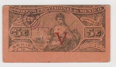(N22-62) 1914 Mexico 5 centavos revolutionary bank note (BL)