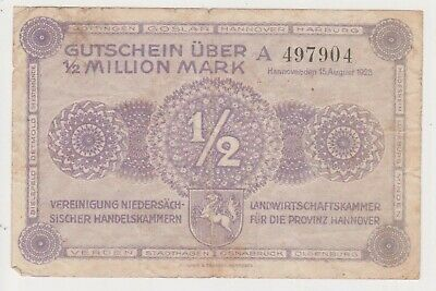 (N22-29) 1923 Germany 1/2 million marks bank note (AD)