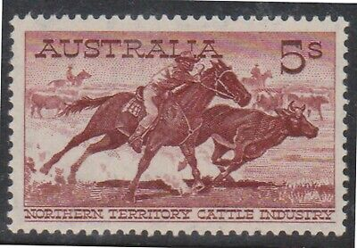 (Q37-20) 1961 AU 5/- NT cattle Industry MH (T)