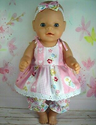 """Dolls clothes  for 17"""" Baby Born  doll~PINKFLORAL/HEARTS STRAP DRESS~BLOOMERS"""