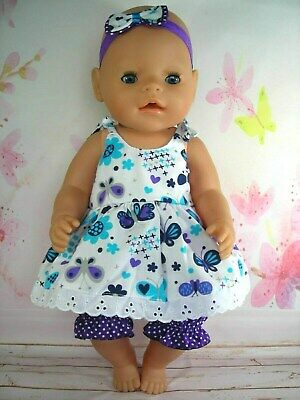 """Dolls clothes for 17"""" Baby Born/Cabbage Patch doll~BUTTERFLY STRAP DRESS~BLOOMER"""