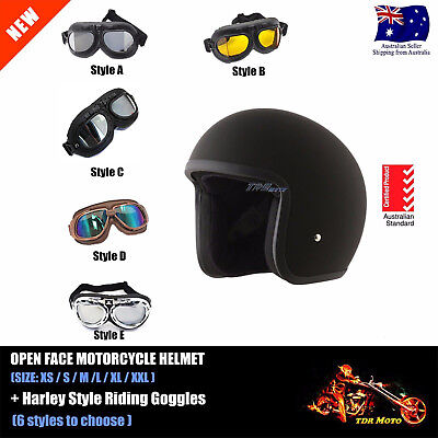 AUS Motorcycle Scooter Bike Open Face Helmet with Goggles XS S M L XL XXL 2018
