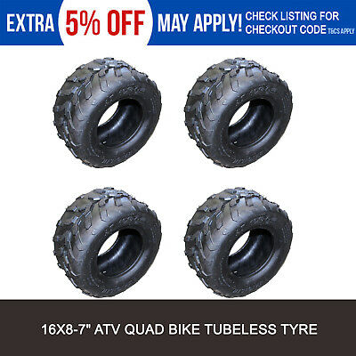 "4x 16x8-7"" Tubless Tyre Tire for 70cc/110/125cc ATV Quad Bike Buggy Go Kart"