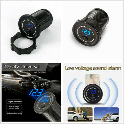 Auto Car Blue LED 12-24V Voltage Meter Low Voltage Alarm with Independent Switch