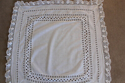 Vintage small white table cloth with crochet edge. Suitable for craft work.