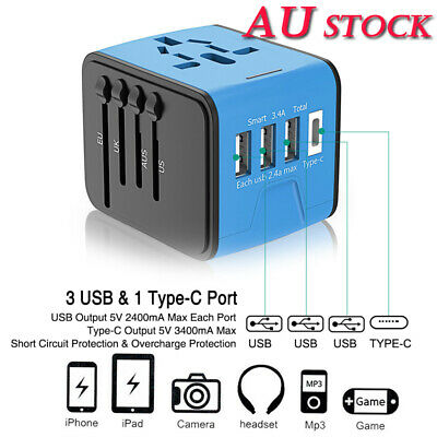 3 USB Type C Universal Travel Converter Plug Power Adapte Charger US/UK/AU/EU