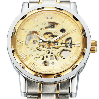 Men Classic Transparent Steampunk Skeleton Mechanical Stainless Steel Watch IE