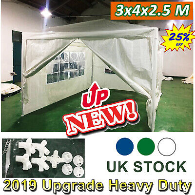 NEW Heavy FULLY Duty WATERPROOF Gazebo 4 Sides with Bag Wedding Outdoor 4x3 mtr