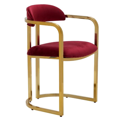 MoDRN Glam Marni Metal Base Dining Chair, Color: Burgundy