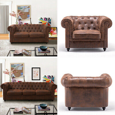 Chesterfield Sofa 2/3Seater Retro Brown Saddle Leather Couch Armchair Club Chair