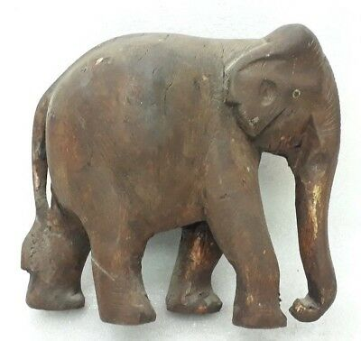 Antique Wooden Hand Carved Sculpture Elephant Figure Statue Big Size